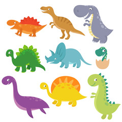 Cute baby dino vector characters isolated vector set