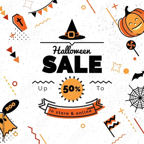 halloween sale banner sale vector illustration sale background in 80s memphis style with holiday symbols