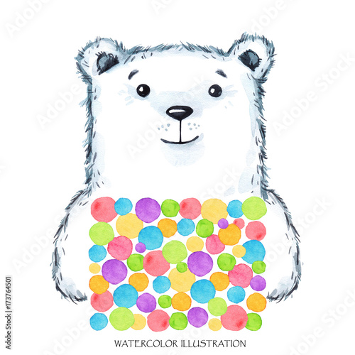 Foto op Canvas Bloemen vrouw Watercolor modern Teddy in bright wear. Cute animal. Bear. Children cartoon illustration. Can be printed on T-shirts, bags, posters, invitations, cards, phone cases, pillows.