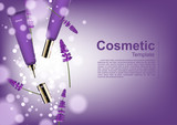 Cosmetic ads template, falling serum and lavender with bubble lights - 173764976