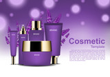 Cosmetis ads, skin care set with lavender and purple wisps on purple background - 173765394