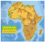 Flat Africa physical map constructor elements on the water surface. Build your own geography infographics collection