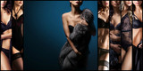 Set of beautiful sexy and young girls in erotic lingerie. Glamour, vogue, fashion concept.