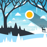 Winter Landscape with Snow on Field and Icicles on Trees. Empty Vector Nature Scene.
