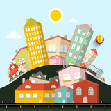 Funky Houses Vector Abstract Landscape. - 173783548
