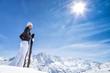Quadro Beautiful brunette woman with ski