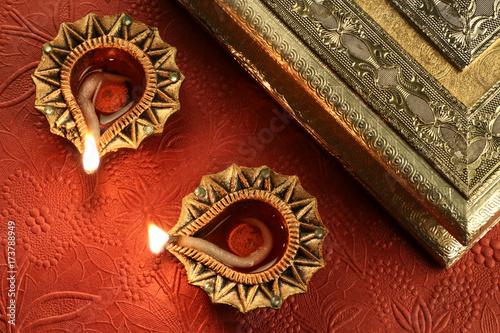 Plakát Diwali Diya Lamps - Indian Festival of Lights