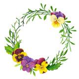 Watercolor wreath of pansies