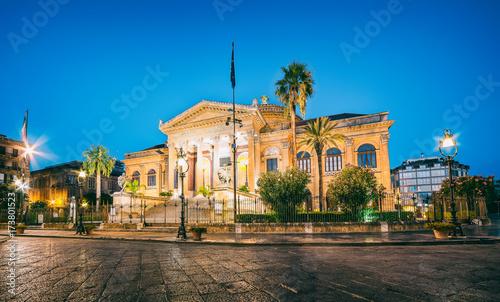 Plexiglas Palermo The night view of Teatro Massimo - Opera and Ballet Theater in Verdi Square, Palermo, Sicily, Italy