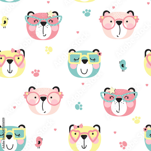 Background of cute bears with glasses - 173806109