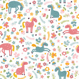 Seamless pattern with cartoon horse