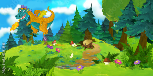 cartoon background of a dragon in the forest - illustration for children - 173818983
