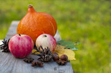autumn concept, postcard, harvest of apples and pumpkins, decor for Halloween - 173819953