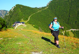 Overweight woman enjoying life. Nordic walking in alpine landscape. Healthy lifestyle and weight loss concept. Karwendel Alps, Bavaria, Germany. - 173822197