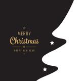 christmas card golden white  , white black tree silhouette
