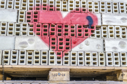 Foto op Canvas Graffiti Gespraytes rotes Herz