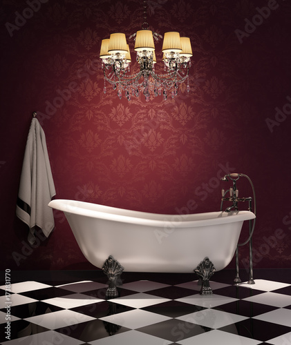 Red classic luxury bathroom with checkered floor
