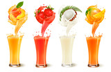 Set of fruit juice splash in a glass. Strawberry, peach, coconut and mango. Vector - 173836776