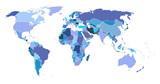 World map blue shade