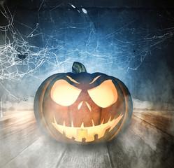 3d illustration of Halloween pumpkin on wooden floor background,Mixed media