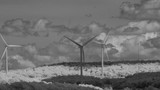 Black & White infrared time lapse of the Mount Storm wind farm operated around Mount Storm lake, located in the Appalachian mountains near Davis, West Virginia. - 173861783