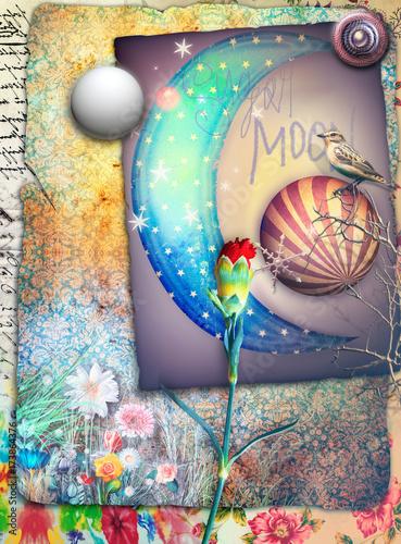 Fotobehang Imagination Sfondo con luna fiabesca,stelle,fiori e garofano rosso