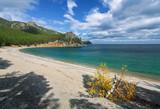 Sandy Bay in autumn on Lake Baikal