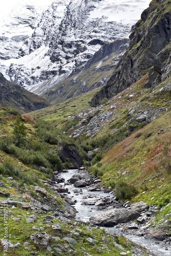 Tuinposter Khaki Il torrente scende schiumeggiante dalla montagna