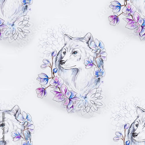 Seamless pattern of a beautiful wolf in flowers on a white background. - 173880320