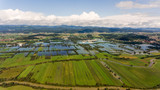 Aerial view of flooded fields. - 173881350