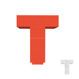 3d pixelated capital letter T. Vector illustration.