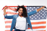 Cheerful woman posing with an American flag - 173897770