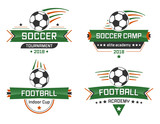 Sport vector logotype. Football academy. Indoor Cup. Soccer Camp and Tournament. - 173899700