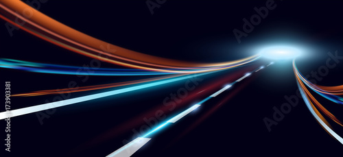 Vector illustration of dynamic lights. High speed road in night time abstraction. City road car light trails motion background.