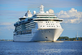 Big cruise ship leaving port of Rige on a sunny summer day - 173903700