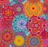 Seamless background pattern with mandalas, eps10 vector - 173904569