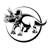 silhouette sketch herbivorous dinosaur Triceratops with horns