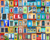 Doors and windows of the world. Colorful collage, travel concept. - 173908707