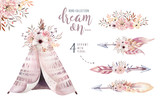 Watercolor colorful ethnic set of arrows, teepee and flowers in native American style.Tribal Navajo isolated illustration ornament on white background. - 173911959