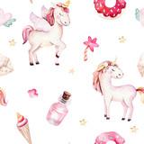 Isolated cute watercolor unicorn pattern. Nursery rainbow unicorns aquarelle. Princess unicornscollection. Trendy pink cartoon horse. - 173913387