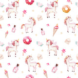 Isolated cute watercolor unicorn pattern. Nursery rainbow unicorns aquarelle. Princess unicornscollection. Trendy pink cartoon horse.