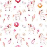 Isolated cute watercolor unicorn pattern. Nursery rainbow unicorns aquarelle. Princess unicornscollection. Trendy pink cartoon horse. - 173913530