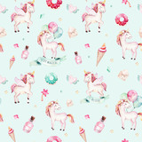 Isolated cute watercolor unicorn pattern. Nursery rainbow unicorns aquarelle. Princess unicornscollection. Trendy pink cartoon horse. - 173914170