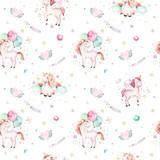 Isolated cute watercolor unicorn pattern. Nursery rainbow unicorns aquarelle. Princess unicornscollection. Trendy pink cartoon horse. - 173916352