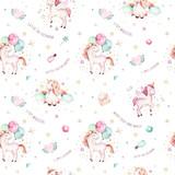 Isolated cute watercolor unicorn pattern. Nursery rainbow unicorns aquarelle. Princess unicornscollection. Trendy pink cartoon horse. - 173916535