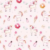 Isolated cute watercolor unicorn pattern. Nursery rainbow unicorns aquarelle. Princess unicornscollection. Trendy pink cartoon horse. - 173916909