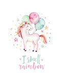 Isolated cute watercolor unicorn kids poster. Nursery unicorns illustration. Princess unicorns drawing. Trendy pink cartoon magic horse. - 173917391