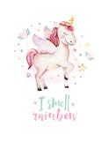 Isolated cute watercolor unicorn kids poster. Nursery unicorns illustration. Princess unicorns drawing. Trendy pink cartoon magic horse. - 173917505