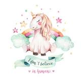 Isolated cute watercolor unicorn clipart. Nursery unicorns illustration. Princess rainbow unicorns poster. Trendy pink cartoon horse. - 173918975