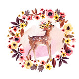 Watercolor deer fawn among flowers isolated on white background. - 173924951